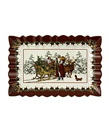 CLOSEOUT!  Toys Fantasy Rectangulare Cake Plate, Santa with sleigh