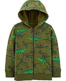 Little Boys Dinosaur Zip-Up Fleece-Lined Hoodie