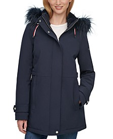 Faux-Fur Trim Hooded Raincoat