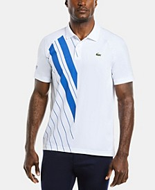 Men's SPORT Novak Djokovic On-Court Short Sleeve One-Sided Striped Polo Shirt