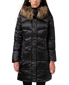 High-Shine Faux-Fur-Trim Hooded Puffer Coat