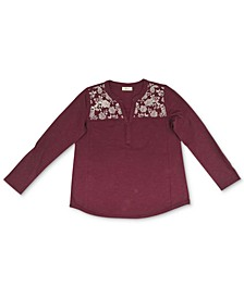 Plus Size Cotton Embroidered Knit Top, Created For Macy's