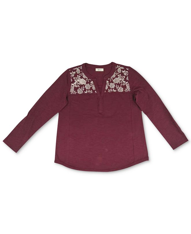Style & Co Plus Size Cotton Embroidered Knit Top, Created For Macy's
