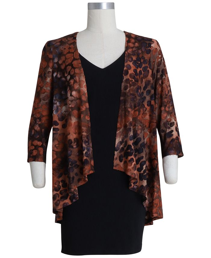 Connected - Plus Size Printed Jacket Dress