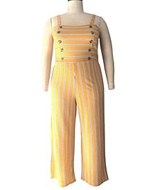 Trendy Plus Size Striped Jumpsuit
