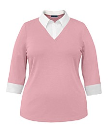 Plus Size Cotton Layered-Look Collared Top, Created for Macy's