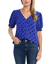 Polka-Dot Puff-Sleeve Top