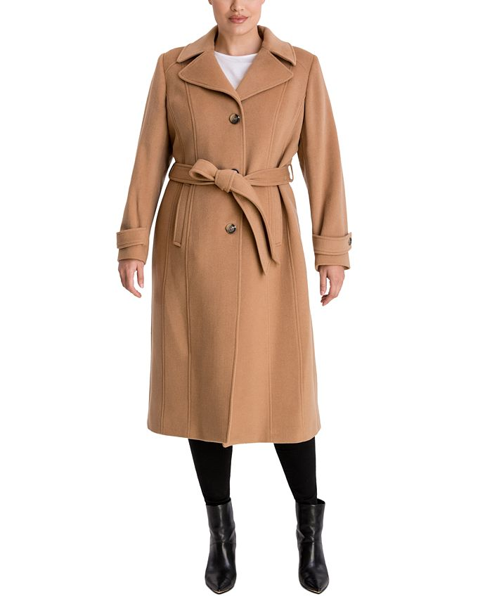 Anne Klein - Plus Size Single-Breasted Belted Maxi Coat
