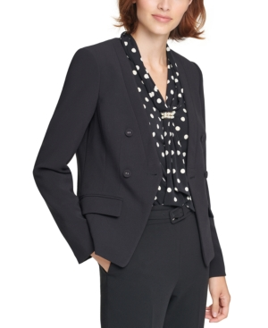 Karl Lagerfeld COLLARLESS DOUBLE-BREASTED BLAZER