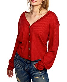 Juniors' Rib-Knit Cardigan Top