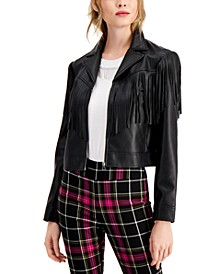 Faux-Leather Notched-Collar Fringe-Trimmed Jacket, Created for Macy's