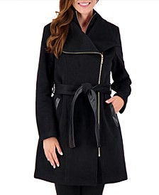 Petite Belted Asymmetrical Wrap Coat, Created for Macy's