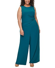 Plus Size Ruched O-Ring Jumpsuit