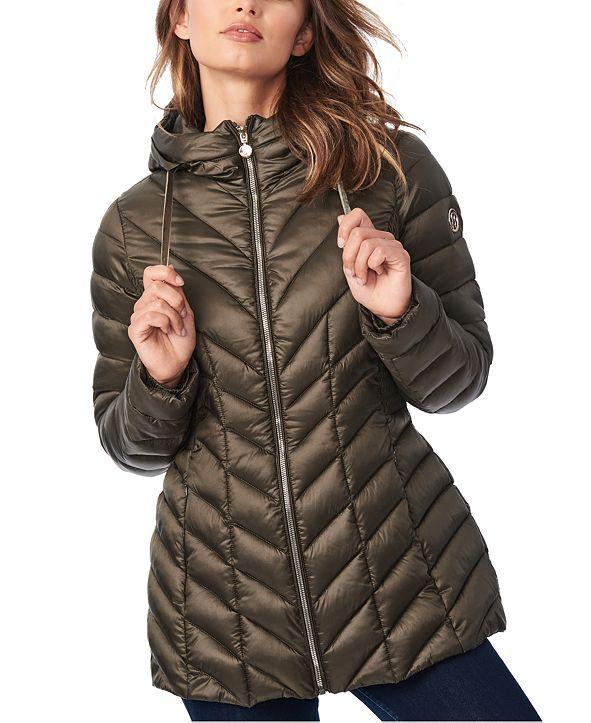 Bernardo Hooded Quilted Packable Puffer Coat