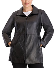 Plus Size Zip-Front Leather Coat
