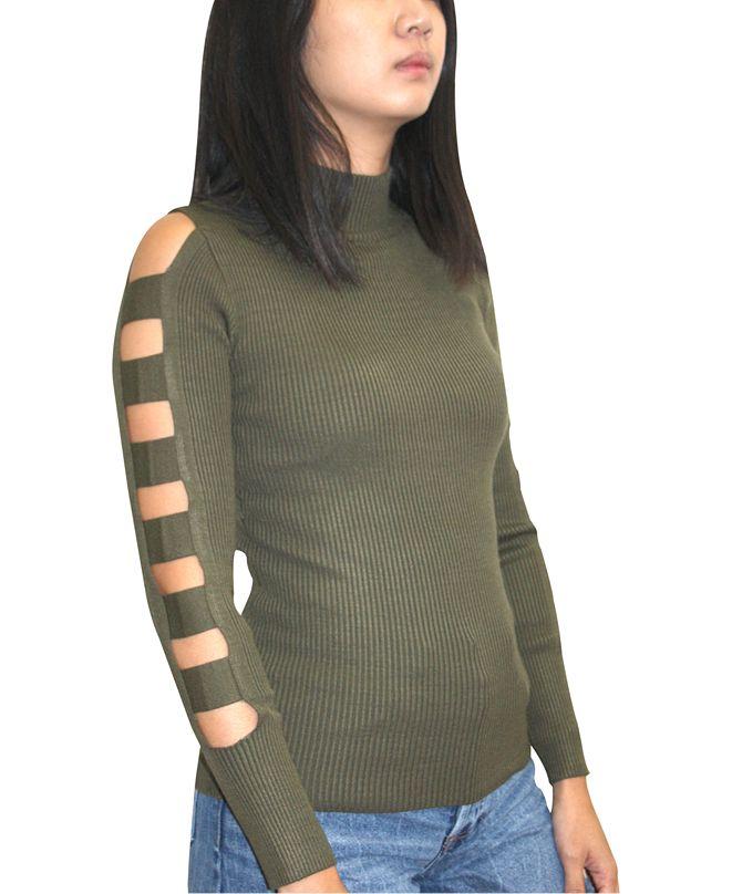 Almost Famous Juniors' Lattice Sleeve Sweater