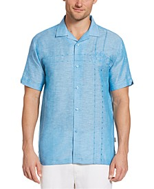 Men's Asymmetrical Embroidered Camp Shirt