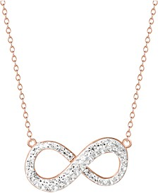"Crystal Infinity 18"" Pendant Necklace in 14k Rose Gold-Plated Sterling Silver, Created for Macy's"