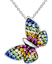 "Crystal Butterfly 18"" Pendant Necklace in Sterling Silver, Created for Macy's"