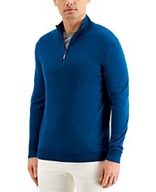 Men's Quarter-Zip Merino Wool Blend Sweater, Created for Macy's
