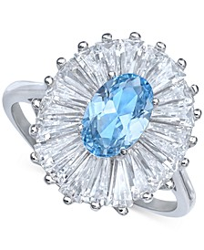 Cubic Zirconia Tapered Flower Oval & Baguette Ring (5-3/8 ct. t.w.) in Sterling Silver (Also Available in Orange, Blue, and Light Blue)