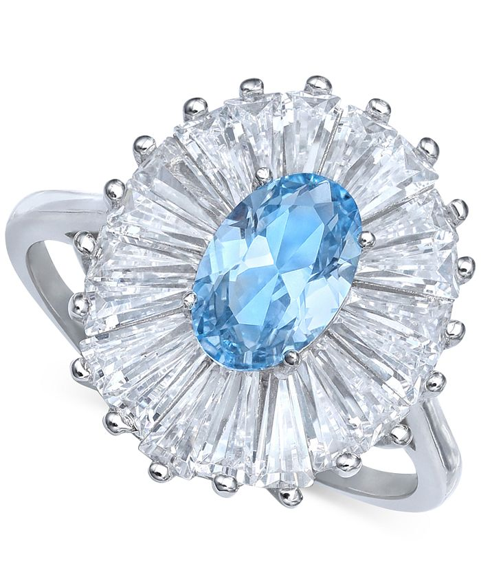 Macy's - Cubic Zirconia Tapered Flower Oval & Baguette Ring (5-3/8 ct. t.w.) in Sterling Silver