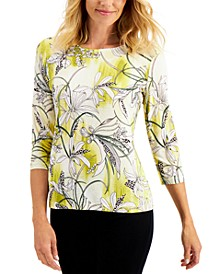 Havana Floral-Print Jacquard Top, Created for Macy's
