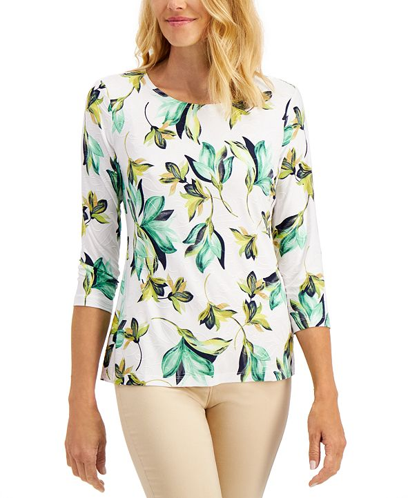 JM Collection Floral-Print Jacquard Top, Created for Macy's