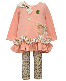 Baby Girls Harvest Pumpkin Animal Legging Set