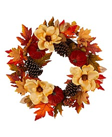 "22"" Blooming Magnolia Wreath with Velvet Pumpkin and Pinecone"