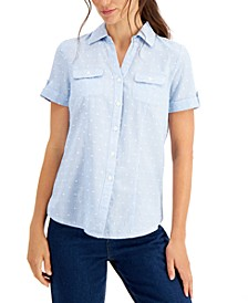 Petite Cotton Dot-Print Shirt, Created for Macy's