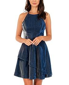 Juniors' Open-Back Glitter Fit & Flare Dress