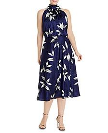 Plus Size Tossed Leaves Halter Dress