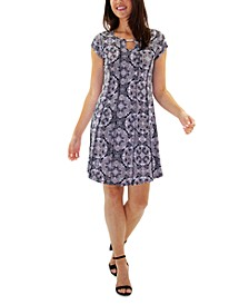 Petite Printed Keyhole Dress