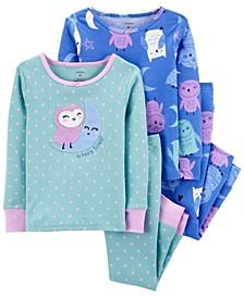 Toddler Girl 4-Piece Owl Snug Fit Cotton PJs