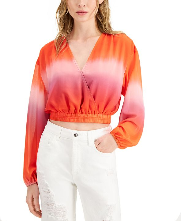 GUESS Marina Faux-Wrap Crop Top