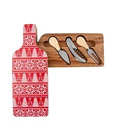 Chalet Wine Bottle Cheese Board with Tools