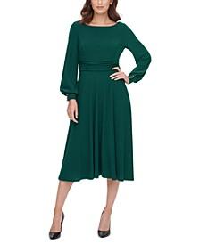 Petite Long-Sleeve A-Line Dress