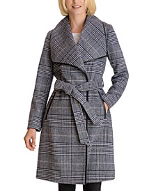 Plaid Belted Wrap Coat