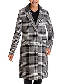 Faux-Leather-Collar Plaid Walker Coat