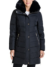 Petite Faux-Fur Collar Hooded Puffer Coat, Created for Macy's