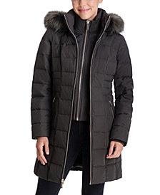 Michael Michael Kors Faux-Fur-Trim Hooded Down Coat, Created for Macy's
