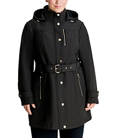 Plus Size Hooded Belted Raincoat, Created for Macy's