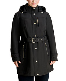 Michael Michael Kors Plus Size Hooded Belted Raincoat, Created for Macy's