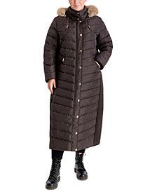 Michael Michael Kors Plus Size Maxi Faux-Fur Trim Hooded Puffer Coat, Created for Macy's