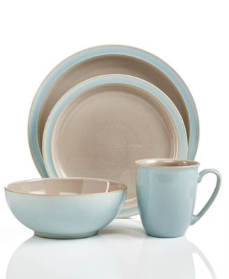 ... Denby Dinnerware, Duets Taupe And Blue 4 Piece Place Setting ...