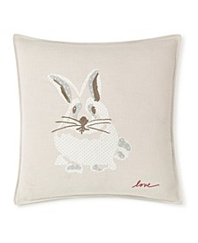 """20"""" L x 20"""" W Bunny Embroidered Square Pillow"""