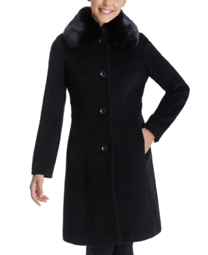 Vintage Coats & Jackets | Retro Coats and Jackets Anne Klein Single-Breasted Faux-Fur Club-Collar Coat $153.00 AT vintagedancer.com