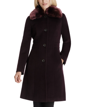 1920s Coats, Flapper Coats, 20s Jackets Anne Klein Single-Breasted Faux-Fur Club-Collar Coat $153.00 AT vintagedancer.com