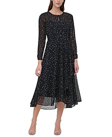 Animal Print Long-Sleeve A-Line Dress